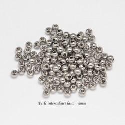Perle intercalaire laiton plaque argent 4mm x20