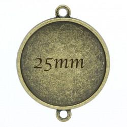 Support cabochon connecteur x10 bronze 25mm