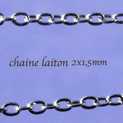 chaine laiton soudée x5m argenté platine 2x1,5mm