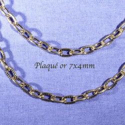 chaine x1 m  maillon ovale striée doré plaque or 7x4mm