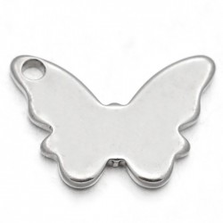 breloque acier papillon x6 lisse plat 11x16mm