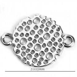 connecteur nid d'abeille rond  x6 argenté 21x15mm