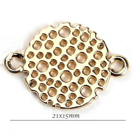 connetcuer nid d'abeille rond x6 doré 21x15mm