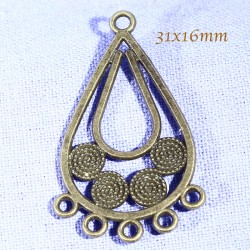 6 chandeliers lustre goutte spirale bronze 31x16mm