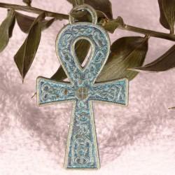 2 breloques croix Egyptienne patine  vert de gris 37x21mm