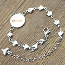 bracelet support cabochon 18mm argenté chaine coeur