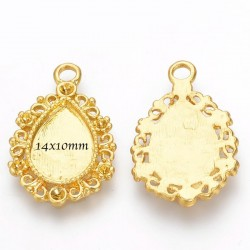 support cabochon x4 pendentif  doré 14x10mm