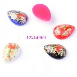 8 Perles japonaise Tensha goutte cabochon fleur 10x14mm