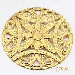 Estampe doré ronde filigrane fleur boheme 57mm