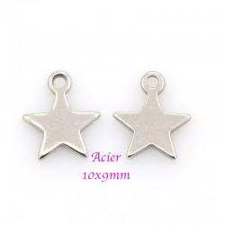 breloque étoiles x10 acier inoxydable 8mm