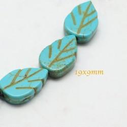 20 perles feuille turquoise howlite bleu 14x9mm