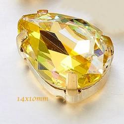 cristal goutte facetté x2 prisme jaune laiton or  14x10mm