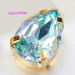 1paire cristal goutte facette vert /bleu 14x10mm
