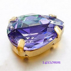 1 Paire cristal facette violet prisme 14x10mm