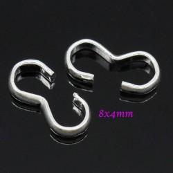 30 anneaux connecteur laiton forme 3  argent vif  8x4mm
