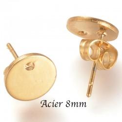 3 paires boucles d'oreille acier or clou rond 8mm