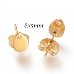 3 Paires boucle d'oreille acier goutte or 8x5mm