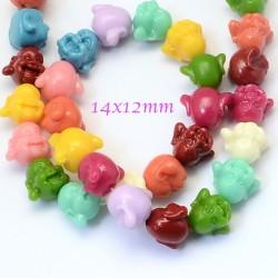 Perles tête de bouddha corail teint multicolore 14x12mm