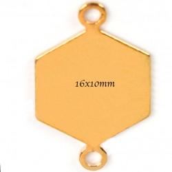 10 connecteurs sequin hexagonal  or 16x10mm
