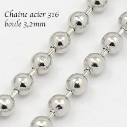 chaine x1 M acier inoxydable 316L boule argent 3,2mm