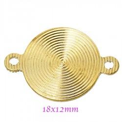 Connecteur  x6 spirale laiton or 18x12mm