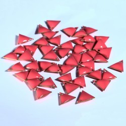 sequin médailoon triangle x6 émail corail 8mm