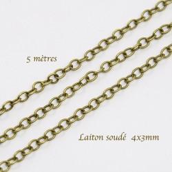 chaine laiton soudée CH024Y bronze x5metres