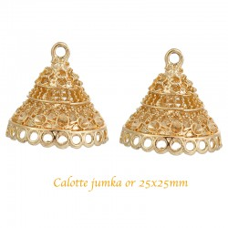 "2 Pcs calottes tribal  Indien  ""JHUMKA JHUMKI"" arabesque 25x25mm"