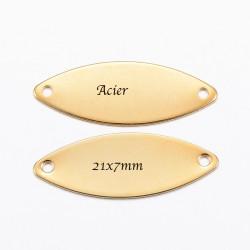 connecteurs x5  marquise ovale acier or 21x7mm