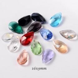 10 Pcs goutte cristal facette multicolore 16x9mm