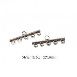 2pcs connecteur lien  acier inoxydable 27x8mm