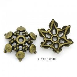 30pcs calottes coupelle fleurs bronze 6pétales 12x11mm