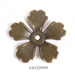 10PCS  grande calotte fleurs estampe bronze 34x33mm