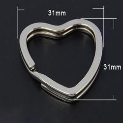Anneau porte clefs coeur argent x5