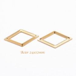 6 pcs connecteur losange acier 316L or 24x12mm