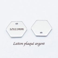 8Pcs sequins médaillon haxagone laiton palqué argent 10x11mm