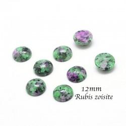 2 Cabochons pierre gemme rubis zoisite 12mm