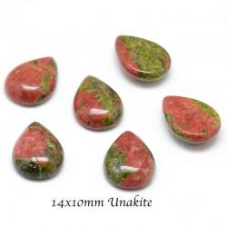 2 cabochons pierre unakite goutte 14x10mm