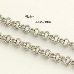 Chaine x1m acier 316L maillon double argent platine  4x0,7mm