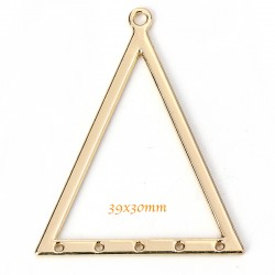 6 pendentifs connecteur triangle or 39x30mm
