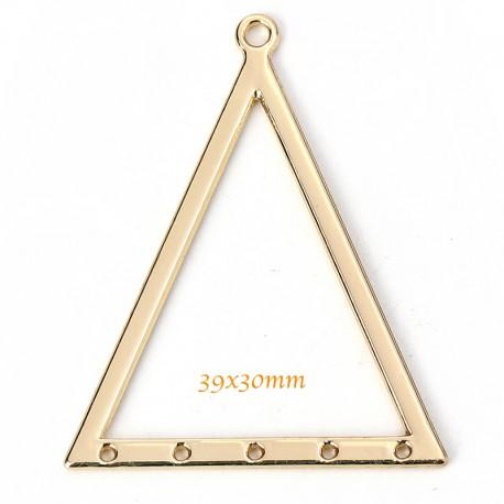 6 pendentifs connecteur triangle or 39x30mm