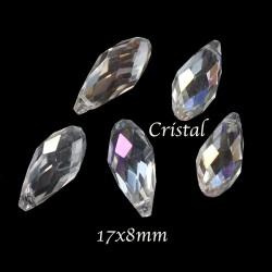 10 perles goutte cristal bohème  AB doré  17X8mm
