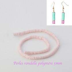 50 perles rondelle pâte polymère rose pâle  5mm