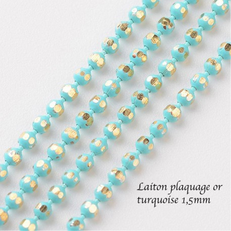 1M chaine laiton plaque or bille turquoise 1,5mm