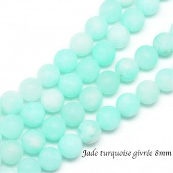 10 perles jade ronde givrée 8mm turquoise