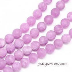 10 perles jade ronde  givrée 8mm rose