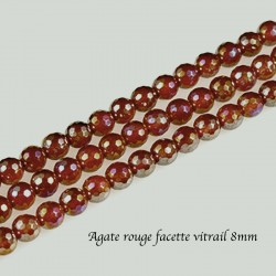 10 Perles cornaline mystique facette rouge /orange 8mm
