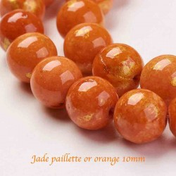 10 Perles jade Mashan 10mm orange paillette or 10mm