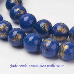 10 perles jade ronde 12mm bleu paillette or