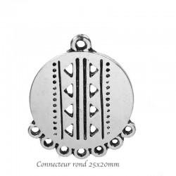 8 chandeliers connnecteur  ronds argent mat 25x20mm